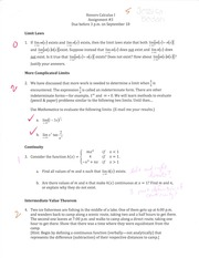 Limit Laws, Continuity Assignment