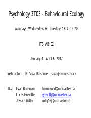 Lecture 1 (Intro to course, behavioural ecology and evolution)