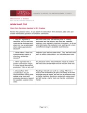 5.5 Short-Term Decisions Handout