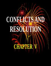 5 CONFLICTS AND RESOLUTION