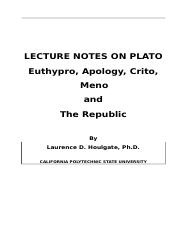 Lecture notes and study questions on Plato's dialogues