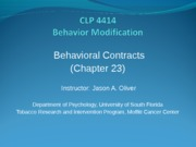 Psych Behavioral Contracts