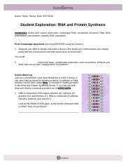 Rna And Protein Synthesis Gizmo Worksheet Answers ...