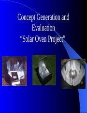 Lecture 8_ Concept Generation and Evaluation _Solar Oven Project.pptx