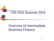Overview of Intermediate Business Finance