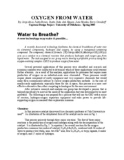 OXYGEN FROM WATER-SUMMARY