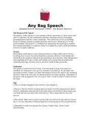 Any Bag Speech