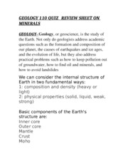 GEOLOGY 110 QUIZ   REVIEW SHEET ON MINERALS