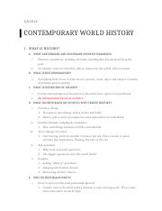 Contemporary World History Midterm Study Guide.docx
