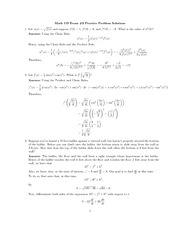 Practice Exam 2 Solution on Single Varaible Calculus Fall 2009