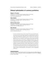 Robust optimization of currency portfolios