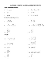 COLLEGE ALGEBRA SAMPLE QUESTIONS