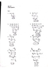 linear equations homework
