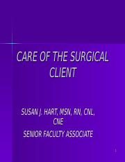 SHU ADULTS I-CARE OF THE SURGICAL CLIENT- SPRING 2014