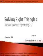 Day 53  Solving Right Triangles.ppt