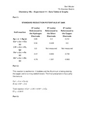 Chem 1BL - E11 - Tables