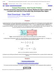 Transport phenomena heat transfer problem solution BSL _ Forced convection heat transfer for laminar
