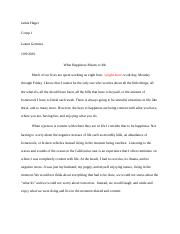 Jamie Hager Happiness essay Corrections by Micah Williams