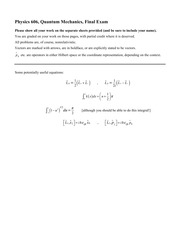 Final Exam Fall 2014 on Quantum Mechanics