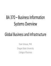 BA370 Week 3 Global Business and Infrastructure