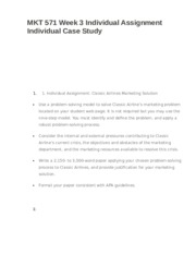 MKT 571 Week 3 Individual Assignment Individual Case Study