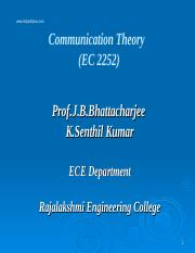 EC 2252 COMMUNICATION THEORY Lecture Notes