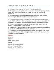 Unit 2 Day 9 Quadratic Word Problems worksheet - MCR3U: 1 The legs ...