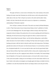 Christianity recent events essay
