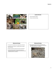 Lecture 1 History and Methods of Behavioral Ecology 4 slides per page