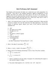 Math Proficiency Self-Assessment