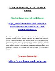EDU 639 Week 4 DQ 2 The Culture of Poverty