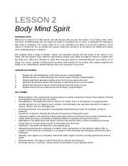 lesson 2 - Body Mind Spirit