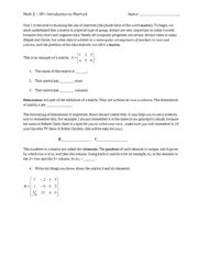 101 introduction to matrices