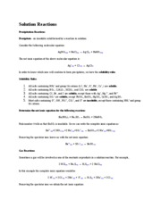Lecture Note - Solution Reactions