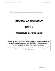 Math 10FP Unit 5 Review Assignment