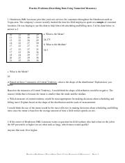 Practice Problems (Describing your Data using Numerical Measures - Central Tendency)