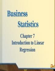 Chapter 7 Introduction to Linear Regression