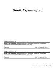 Genetic Engineering Lab 2 Fall 2014