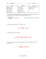 Quiz 1 Solution Summer 2014 on General Chemistry
