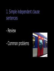 1. Simple Independent clause