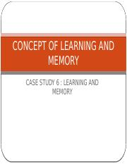 CONCEPT OF LEARNING AND MEMORY