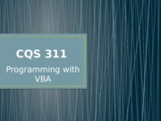 Programming with VBA
