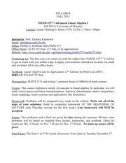 Syllabus on Advanced Linear Algebra I Fall 2013