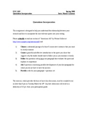 Incorporating Quotations Handout