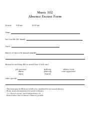 Music 102 Absence Excuse Form