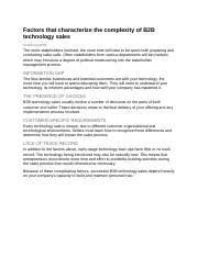 Factors that characterize the complexity of B2B technology sales.docx