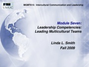 MGMT615 Leading Diverse Teams (m-7) Fall 09, edited
