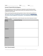 Business Financial Planning Organizer A.doc