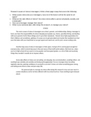 causes of stress in teenagers essay