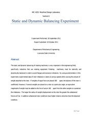 static and dynamic balancing experiment pdf